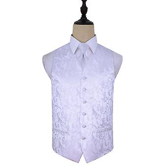 White Passion Floral Patterned Wedding Waistcoat & Tie Set
