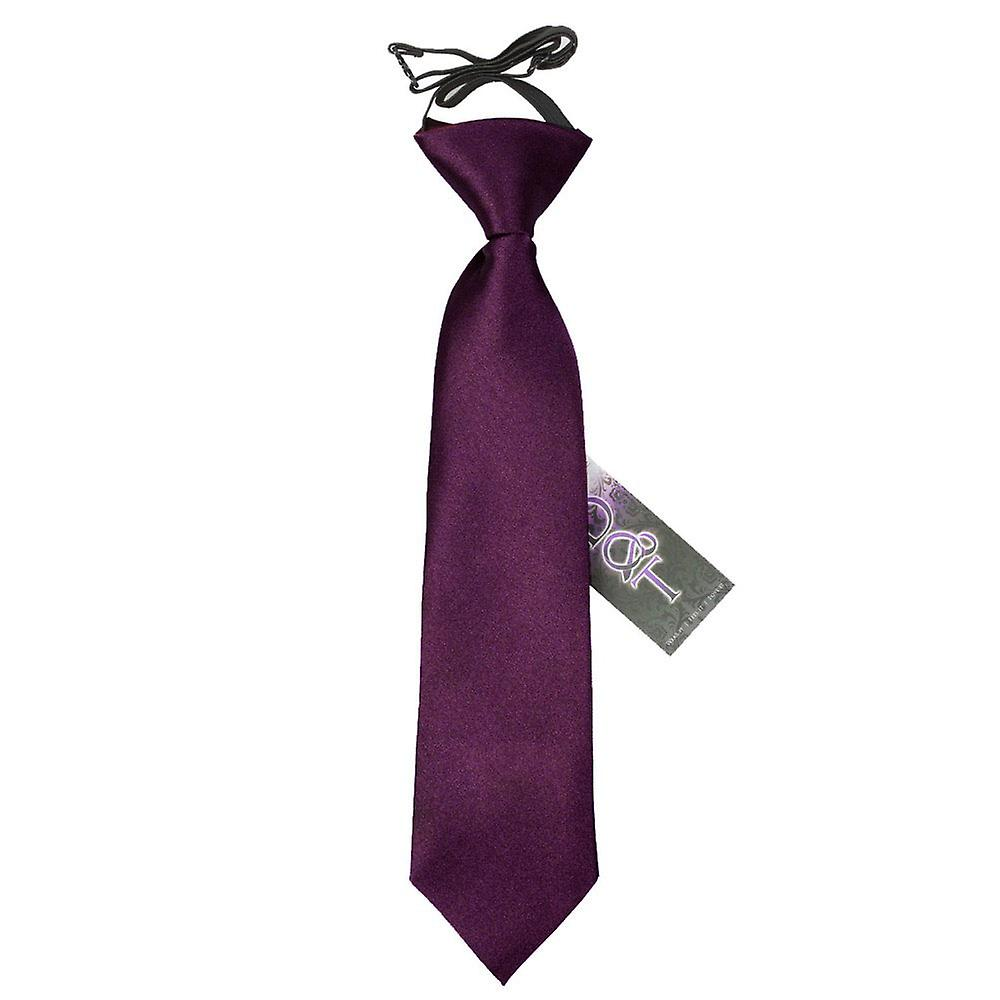 Boy's Plum Plain Satin Pre-Tied Tie (2-7 years)