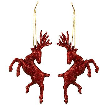 Set of Two Hanging Red Glitter Reindeer Christmas Decorations
