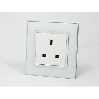 I LumoS AS Luxury White Mirror Glass Single Unswitched Wall Plug 13A UK Sockets