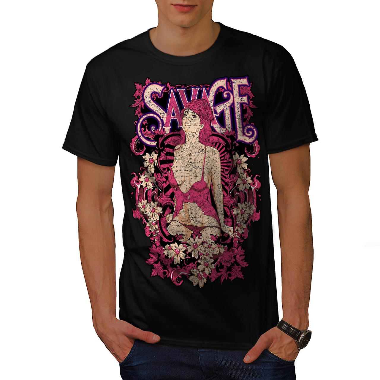 Savage Beauty Lust Stripper Girl Men Black T-shirt | Wellcoda