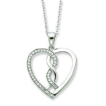 Sterling Silver Cubic Zirconia Hearts Joined Together 18inch Necklace