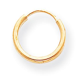 14 k Gold eindeloze Hoop Earrings Hoop Earrings -.3 gram - maatregelen 10x10mm
