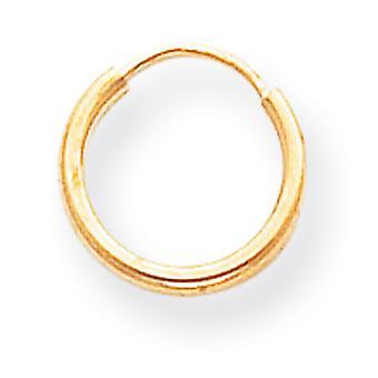 14k Gelb Gold hohl endlose poliert Hoop Ohrringe -.3 g - Maßnahmen 10x10mm