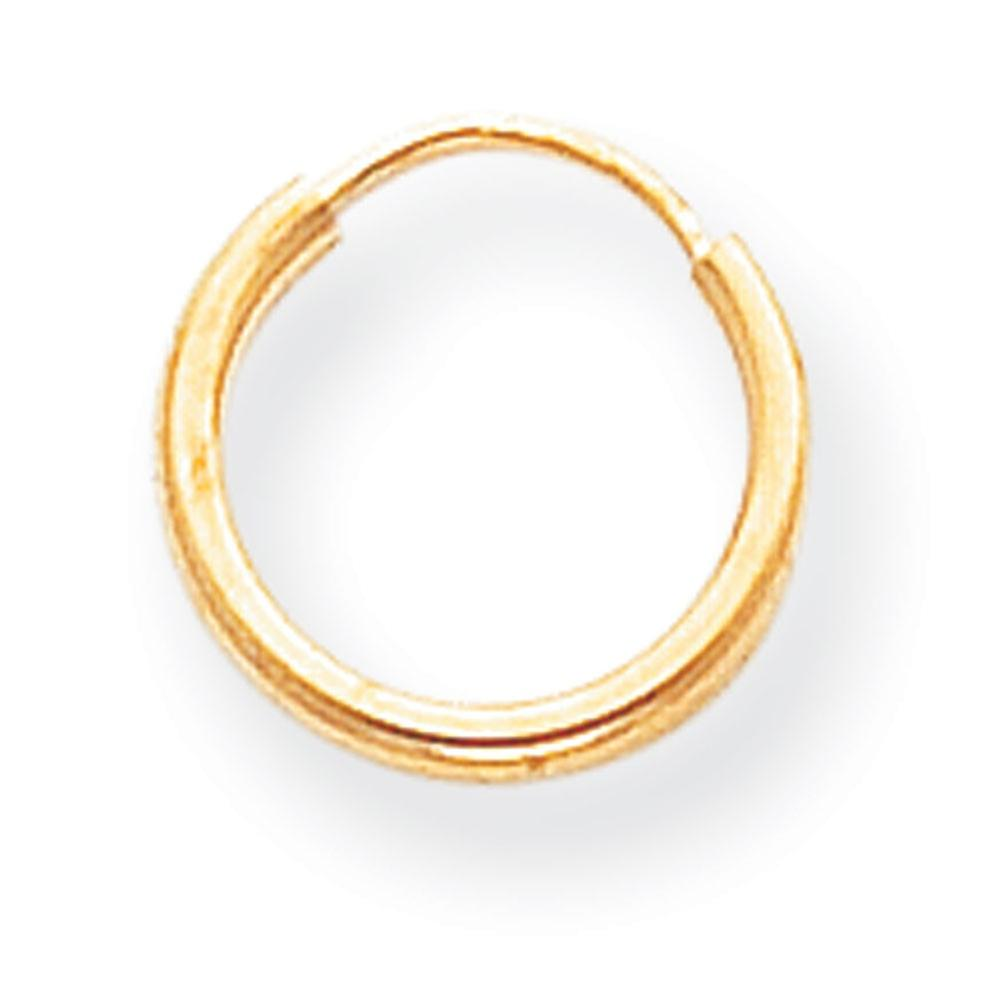 14k Yellow Gold Endless Hoop Earrings - .3 Grams - Measures 10x10mm