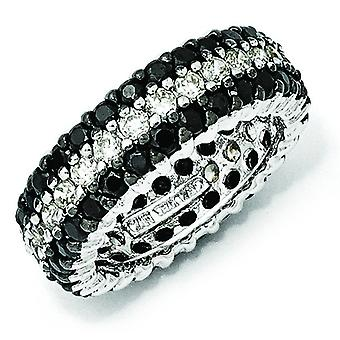 Sterling Silver Black White CZ Eternity Ring - Ring Size: 6 to 8