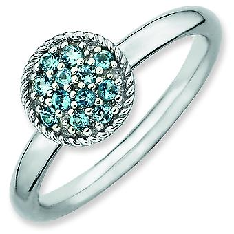 Sterling Silver Polished Prong set Rhodium-plated Stackable Expressions Blue Topaz Rhodium Ring - Ring Size: 5 to 10