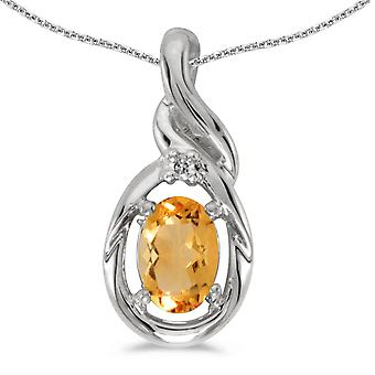 10k White Gold Oval Citrine And Diamond Pendant with 16