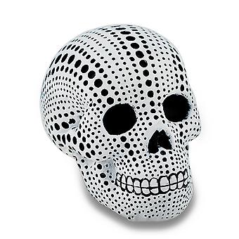 White and Black Dotted Mini Human Skull Statue 3.5 in.