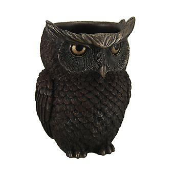 Great Horned Owl Highly Detailed Bronze Finish Pen Holder 6 Inch