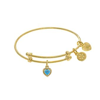 March Heart Shape CZ Birthstone Charm Expandable Tween Bangle Bracelet