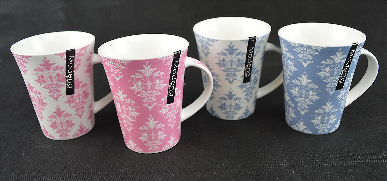 New Bone China Set of 4 Tea Coffee Mugs Home Office 2 assorted patterns