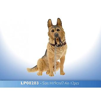 19cm Walkies tysk Shepherd hund siddende Ornament figur gave samleobjekter