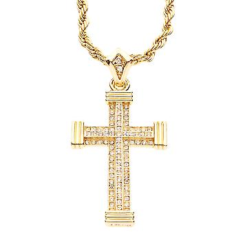 Iced out bling MINI chain - 3D cross gold