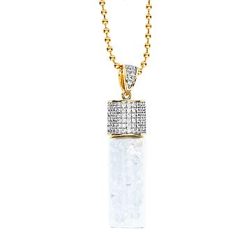 Iced out bling micro pave necklace - BOTTLE OF zircon gold