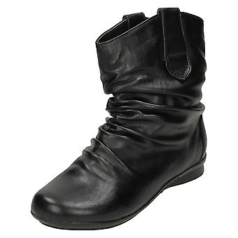 Ladies Spot On Low Heel Ankle Boot with Rouched Detail