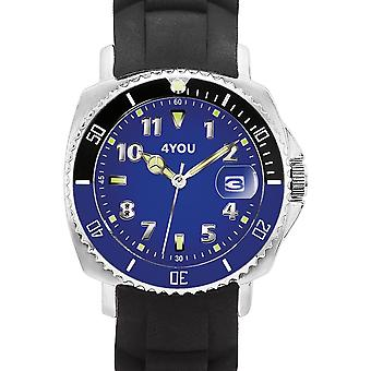 4YOU Herre ur wrist watch analog quartz silikone 250006005