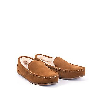 Men's Suede Moccasin Slippers in Tan
