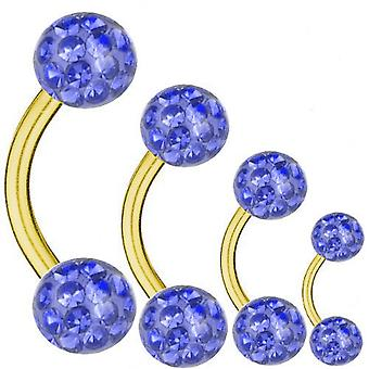 Barbell incurvé or plaqué titane 1,6 mm, Multi Crystal Ball bleu saphir