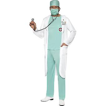 Doctor costume with top pants hood face mask clear badge and coat