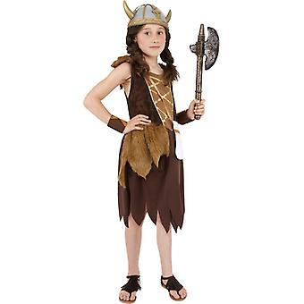 Viking girl costume Brown dress and arm cuffs