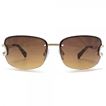 SUUNA Bella Large Semi Rimless Sunglasses In Shiny Light Gold