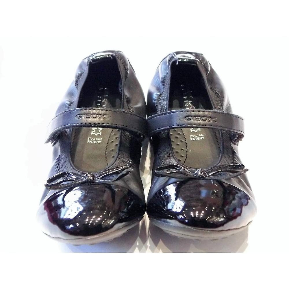 Geox Girls Black Leather And Patent Ballerina Shoes With Velcro Strap Geox Piumabal