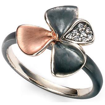 925 vergoldet Silber Rose Blume und Zirkonia Ring Trend