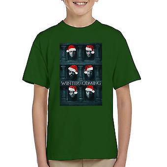 Vinteren er Coming Game Of Thrones ansigter jul Kid's T-Shirt