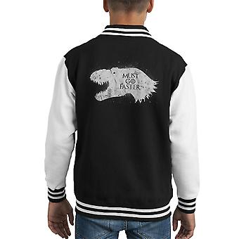T Rex Is Coming Jurassic Park Kid's Varsity Jacket