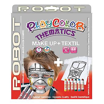 Playcolor Basic Make Up Pocket 5g + Textil One 10g Face Paint Stick (Robot Set)