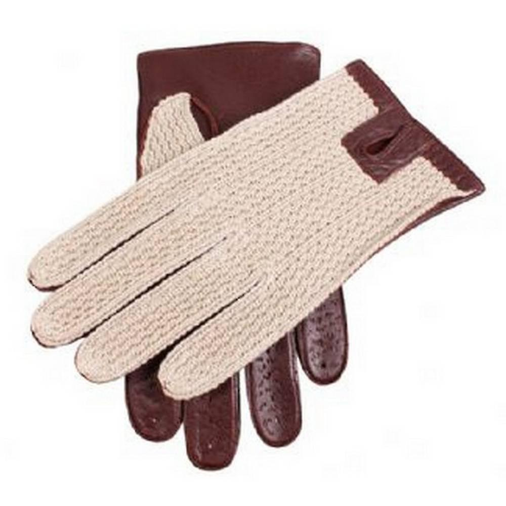 Dents Coton Crochet Retour gants de conduite - English Tan