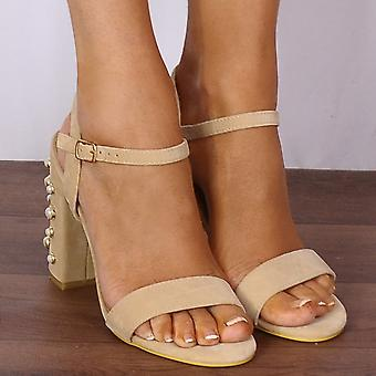 Shoe Closet Ladies DB91 Nude Pearl Barely There Strappy Sandals Peep Toes High Heels