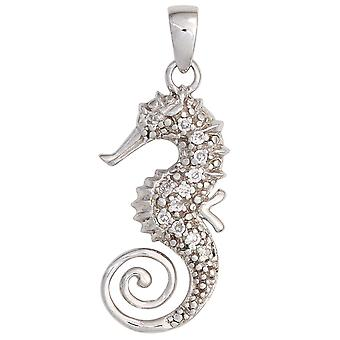 Seahorse pendant seahorse 925 sterling silver rhodium plated with cubic zirconia