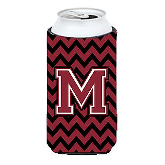 Letter M Chevron Garnet and Black  Tall Boy Beverage Insulator Hugger