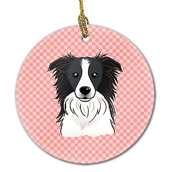 Carolines tesouros BB1241CO1 quadriculado rosa Border Collie cerâmica ornamento
