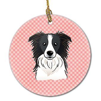 Carolines Schätze BB1241CO1 Schachbrett rosa Border Collie keramischen Ornament