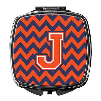 Carolines Treasures  CJ1042-JSCM Letter J Chevron Orange and Blue Compact Mirror