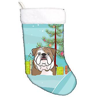 Christmas Tree and English Bulldog  Christmas Stocking
