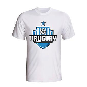أوروغواي البلد شعار تي شيرت (أبيض)
