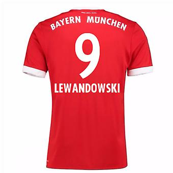 2017-18 Bayern Munich Home Short Sleeve Shirt (Lewandowski 9)
