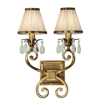 Oksana Antique Brass Twin Wall Light With Beige Shades - Interiors 1900 63539