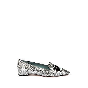 Chiara Ferragni women's CF1236 silver leather moccasins