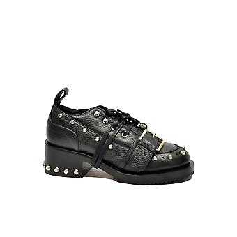 N ° 21 women's 8457NERO black leather lace-up shoes