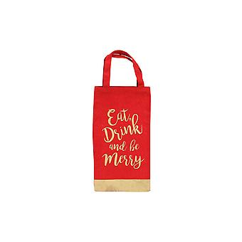 CGB Giftware Christmas Eat Drink and Be Merry Glitter Bottle Bag