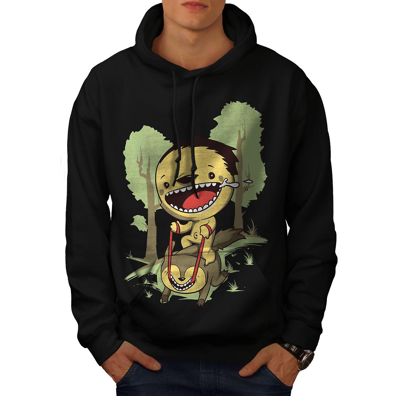 Cartoon Cute Forest Funny Men Black Hoodie | Wellcoda