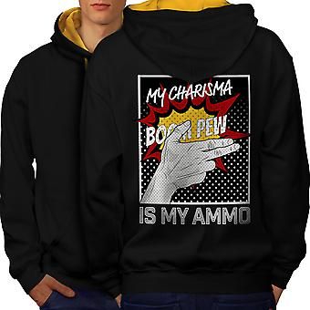 Charisma Comics Fashion Men Black (Gold Hood)Contrast Hoodie Back | Wellcoda