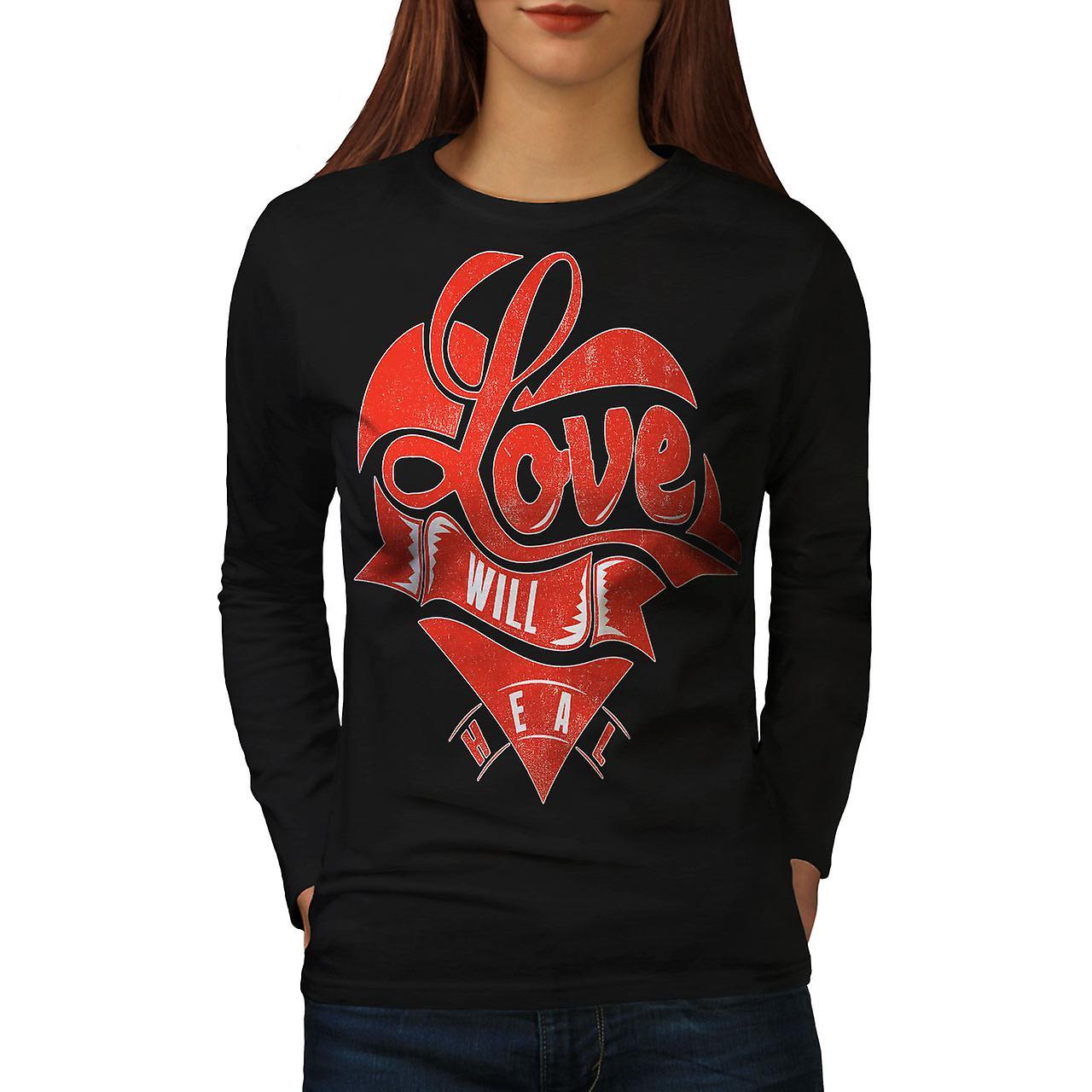 Love Will Heal Women BlackLong Sleeve T-shirt | Wellcoda
