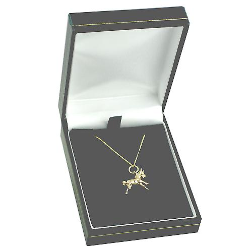 9ct Gold 12x16mm Pony Pendant with a curb Chain 16 inches Only Suitable for Children