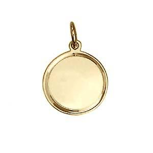9ct Gold 17mm round engine turned line border Disc